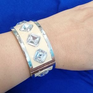 Silver Cuff Bracelet with Diamond Crystals